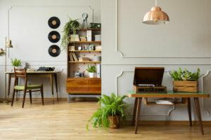 des vinyles utilisés comme décoration