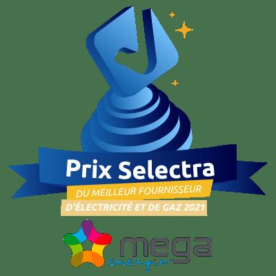 Mega Énergie, élu meilleur fournisseur d'électricité et de gaz par Selectra.